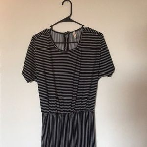Black and white striped casual jumpsuit